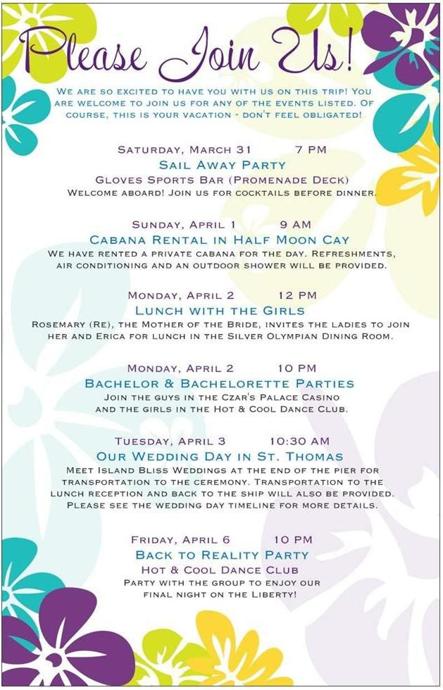 Wedding Week Itinerary Ideas