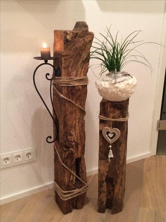 Deko Innen Holz Säulen, Holzbretter, Deko Holz, Holzscheiben, Diy Dekoration,  Haus