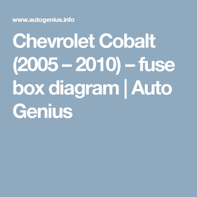 chevrolet cobalt 2004 2011 fuse box diagram chevrolet cobalt fuse box cobalt pinterest