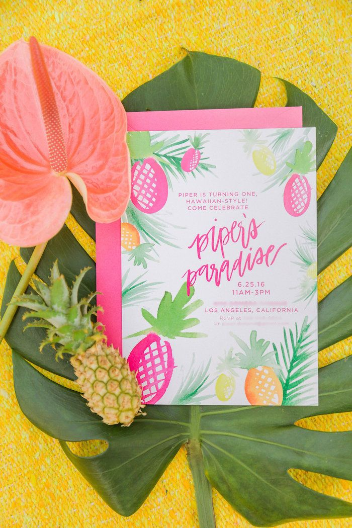 Luau Party Invitation, Summer Party Invitation, Tropical Party