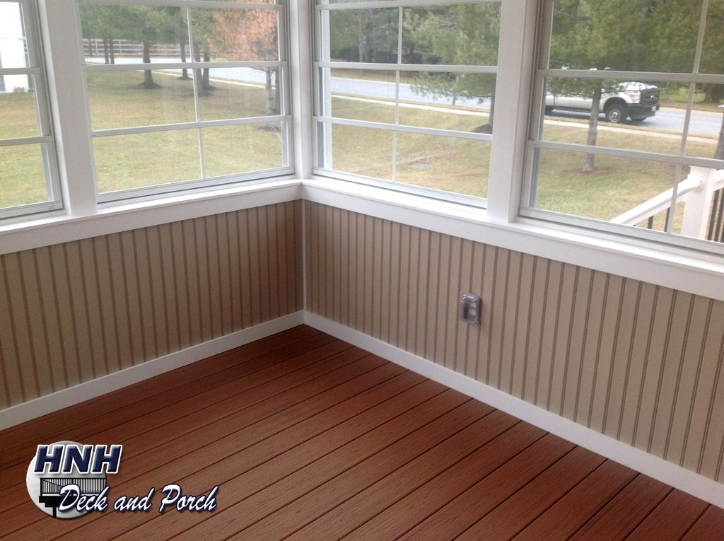 Screened porch with eze breeze panels vinyl bead board for Screen walls for deck