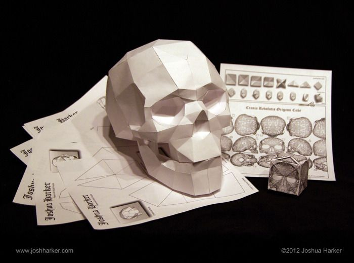 Papercraft Skull Origami Cube Puzzles Click To View In 3d Ref