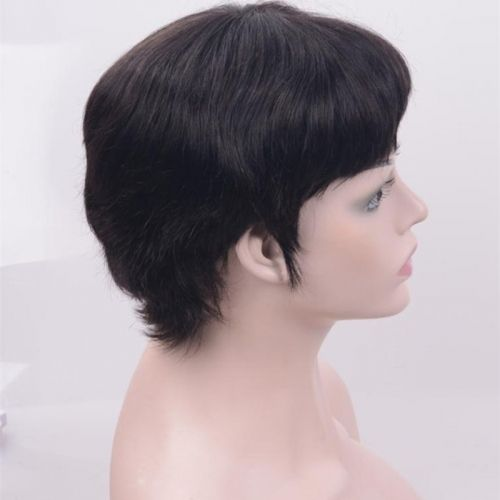 Short Hair Cut Straight 100% Human Hair Wigs None Lace 7 Inches