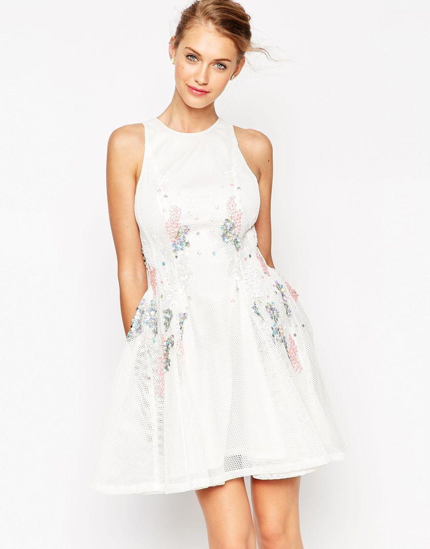 ASOS MESH Skater Dress With Scattered Sequins | Talking Angela ...