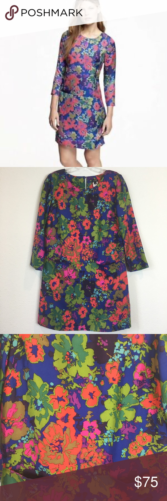 ZARA Floral Printed Tunic Buttoned Shirt Dress With Belt Off White 4043//070 S