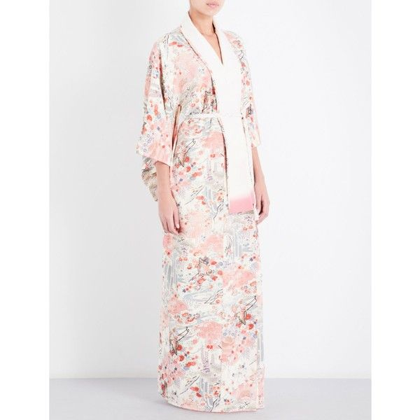 KISSHOTEN Japanese Villages silk kimono robe ($705) ❤ liked on ...