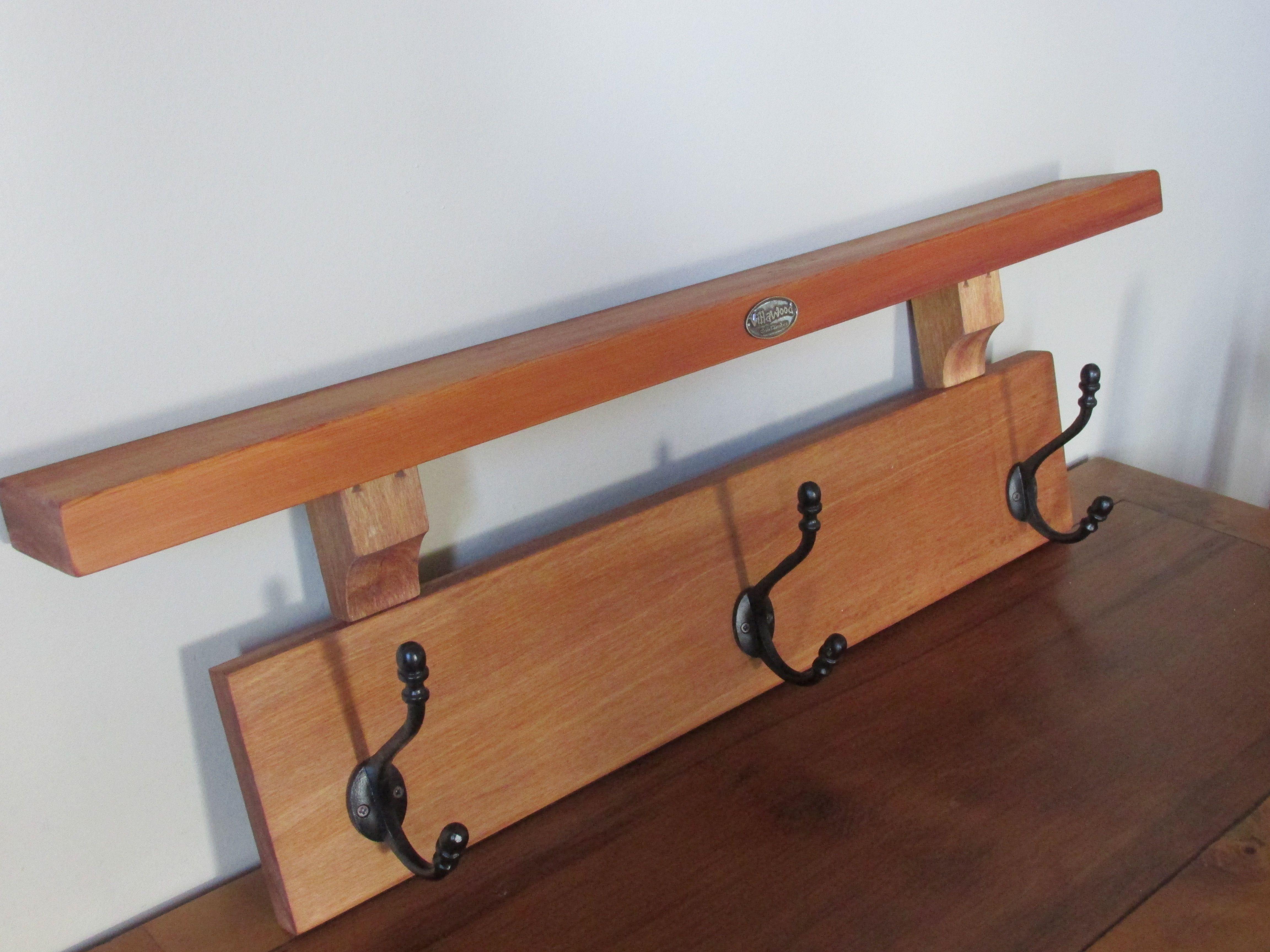 3 Hook Coat Rack With Shelf Solid Recycled Rimu 90 Https Www Facebook Com Villawoodcreations Diy Coat Rack Coat Rack Shelf Home Decor