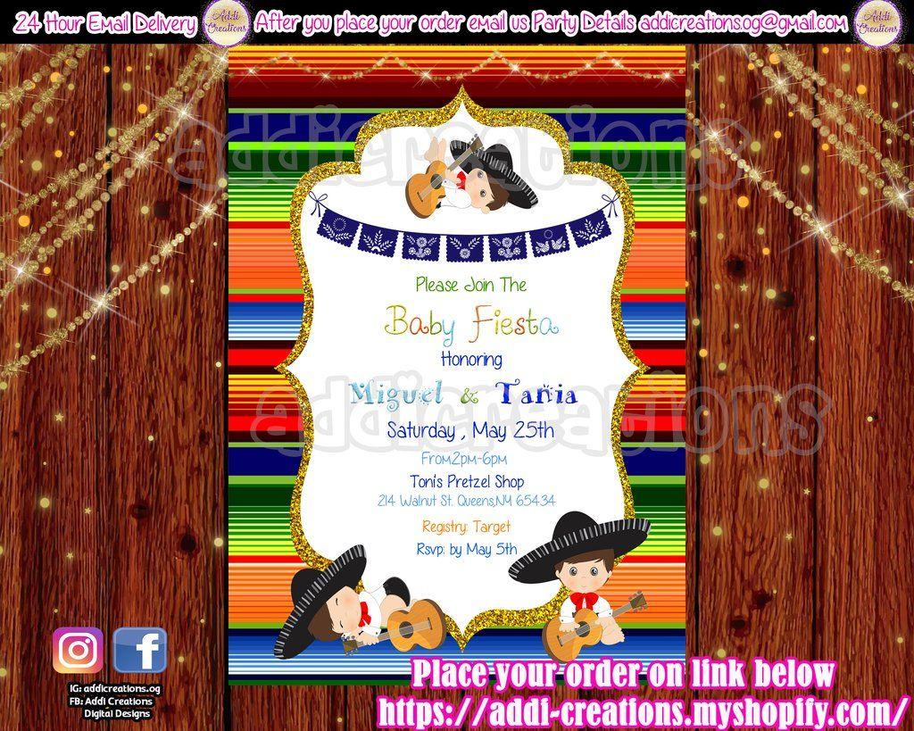 Fiesta Ideas Invitaciones Baby Shower.Fiesta Baby Shower Invitations Customized Item Fiesta Baby