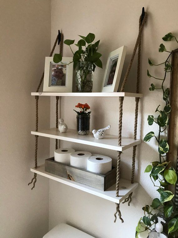 Three Tier Wood And Rope Hanging Shelves In White Washstain Bathroom Small Storag