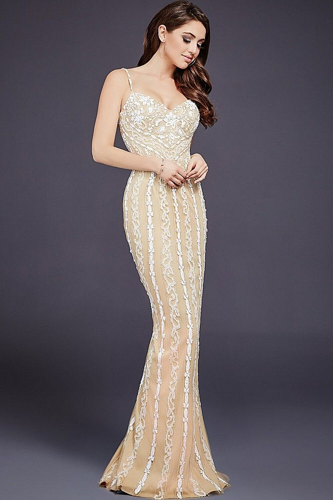 Nude and Ivory Mermaid Sweetheart Neck Dress 36340 Gorgeous form ...