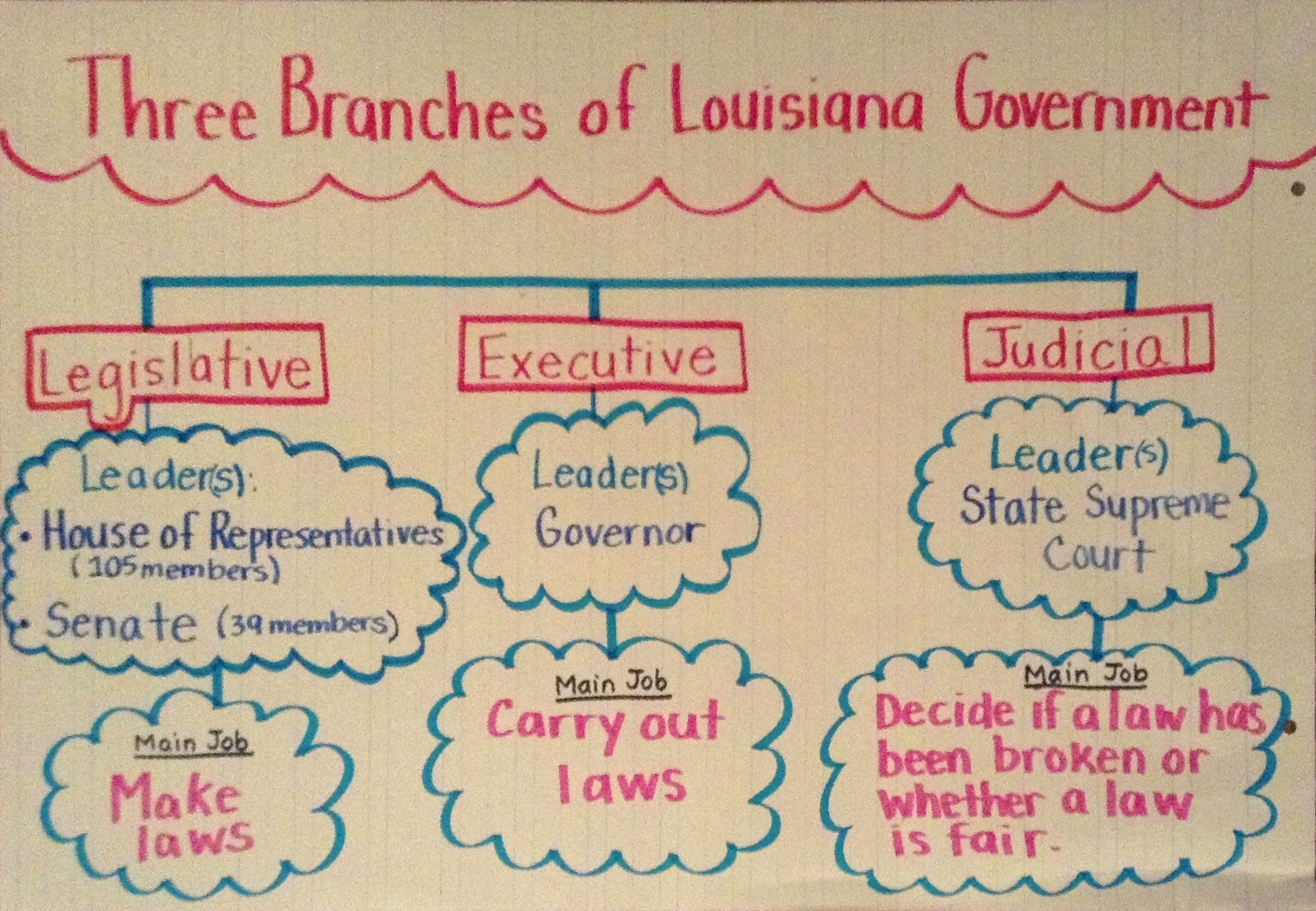 Three Branches of Louisiana Government 3 Branches, 3rd Grade Social  Studies, Anchor Charts,
