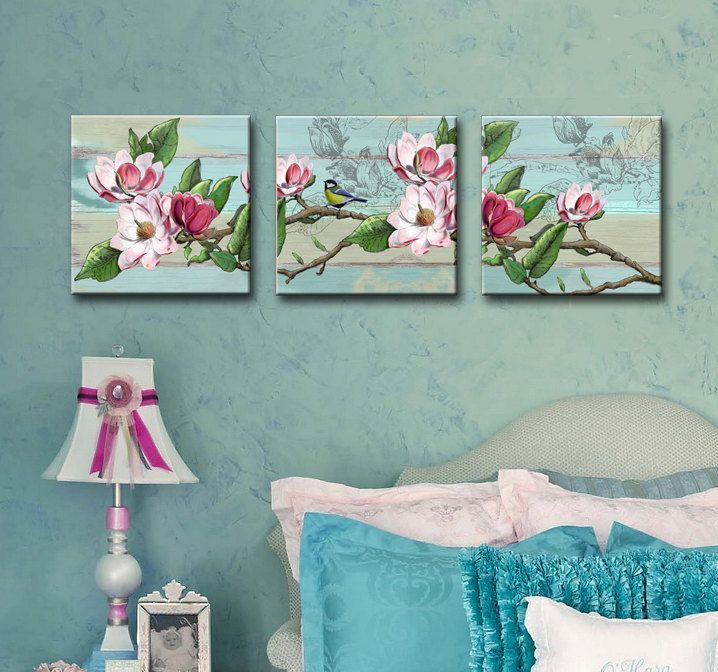 Shabby Chic Pink Teal Magnolia Set Of 3 Canvas Art Description From Etsy