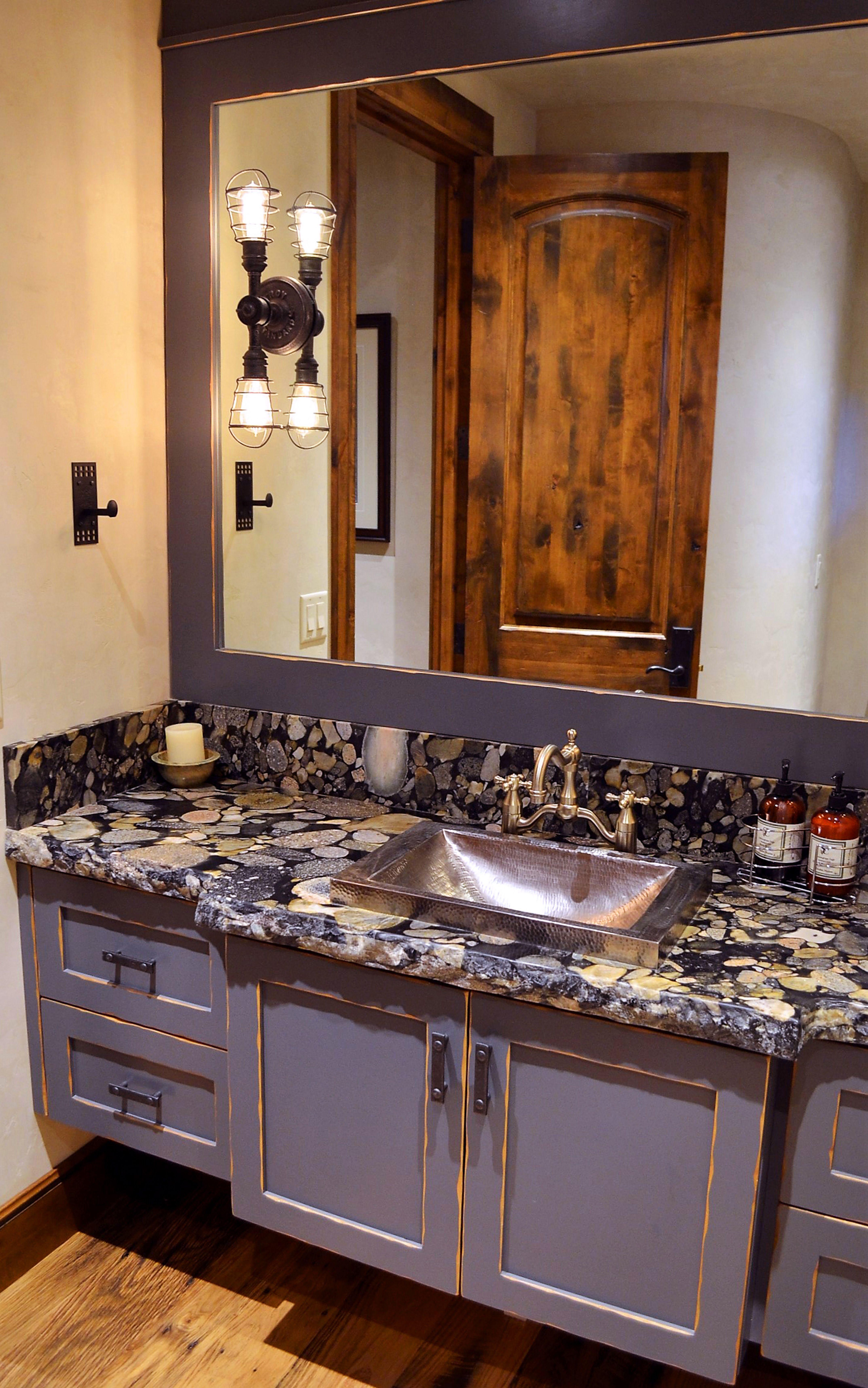 Blue Cabinets Guest Bathroom Trough Sink River Rock Granite Industrial Lighting Montana Master Bath Sink Trough Sink Blue Cabinets