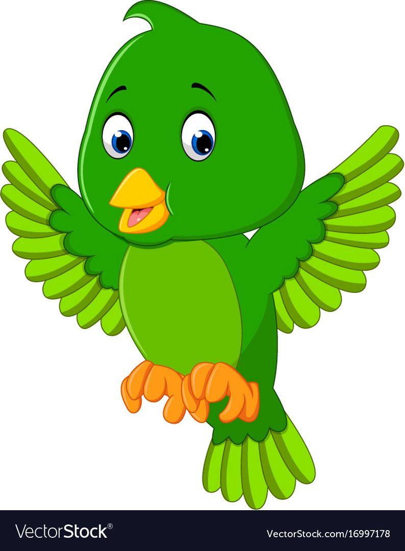 Illustration Of Cute Green Bird Cartoon Download A Free Preview Or High Quality Adobe Illustrator Ai Eps Pdf An Cartoon Clip Art Cartoon Birds Bird Drawings
