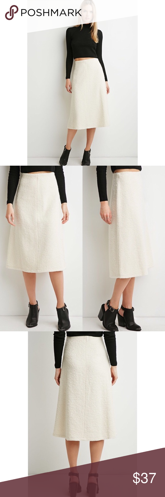 ❄️ A-line Midi Skirt A-line midi skirt featuring a side zipper. Unlined. 63% polyester, 12% acrylic, 9% wool, 8% cotton, 8% rayon. Made in China. Color: Cream. Sizes small and medium. One of each available. From the Contemporary line. NWT. Forever 21 Skirts Midi