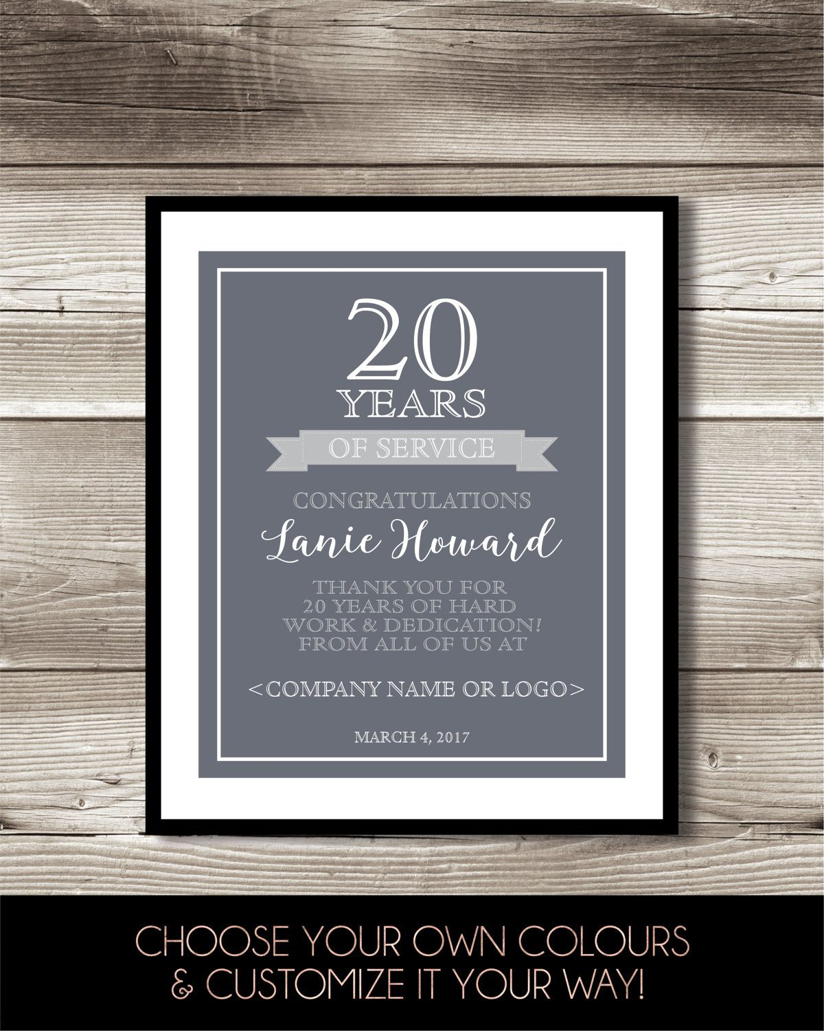 20 Year Work Anniversary Print 20th Work Anniversary