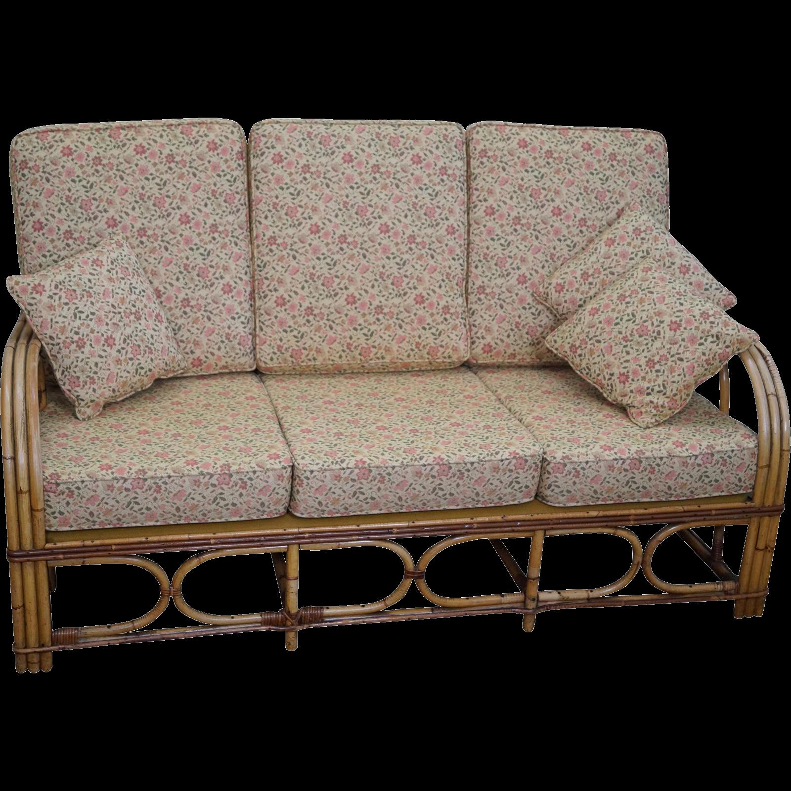 Antique Split Reed Rattan Bamboo Sofa
