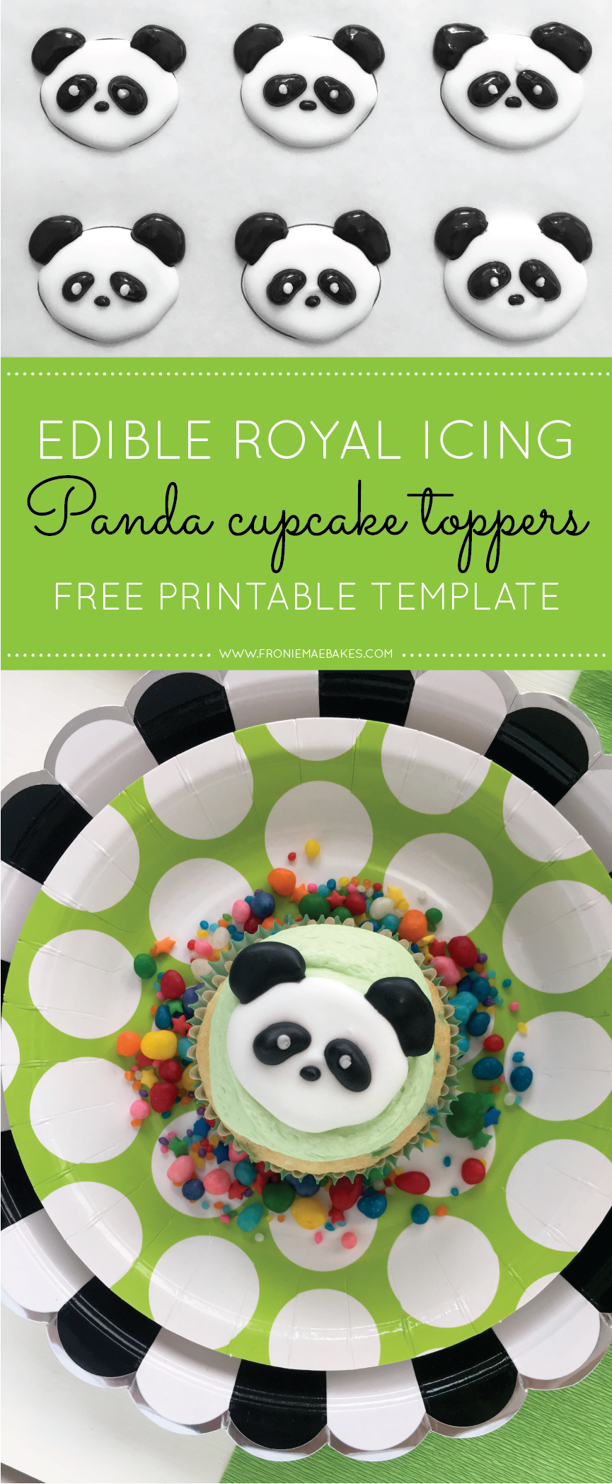 Make These Royal Icing Panda Cupcake Toppers Ahead Of Time With Our Free Printable Template Found Royal Icing Templates Panda Cupcakes Royal Icing Decorations