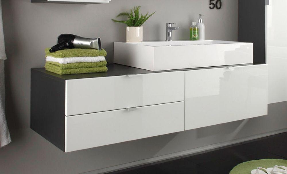 Badmöbel Set Unterschrank Mit Waschbecken Weiß Hochglanz Grau
