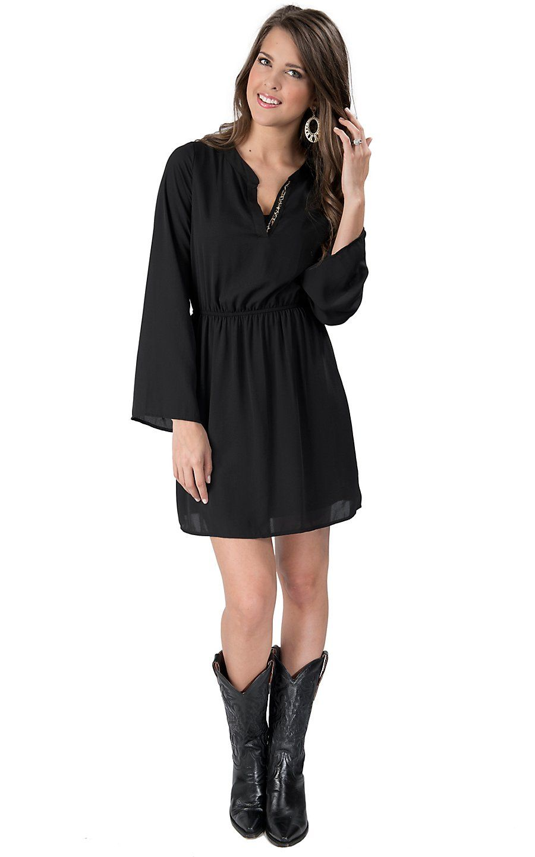 Karlie Women S Black With Leopard V Neck Long Sleeve Dress Retro Fashion Outfits Sweaters Women Fashion Office Fashion Women