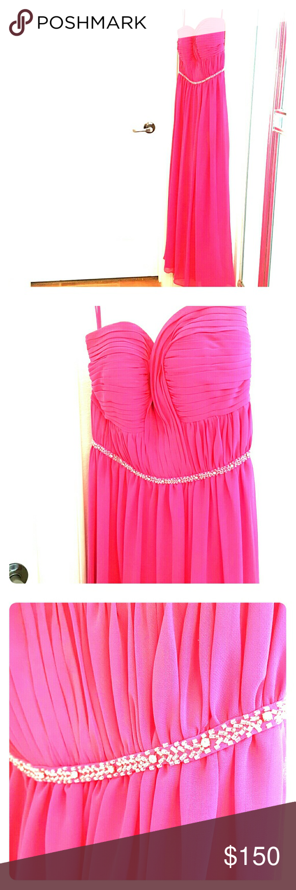 Bari Jay (style no. 916) Hot Pink Formal Gown