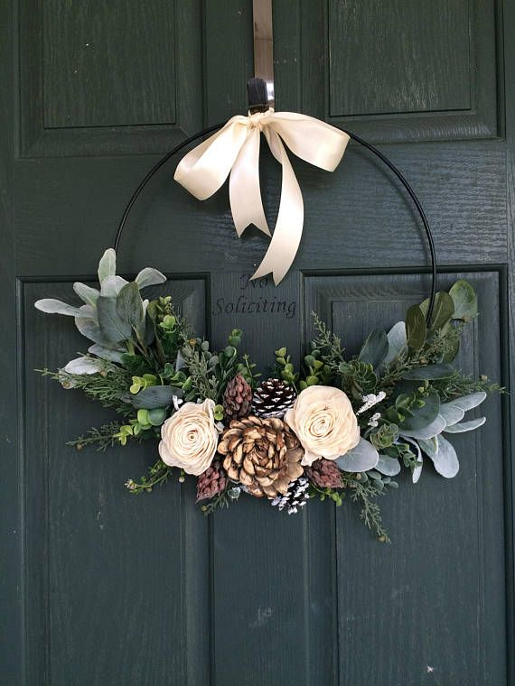 Exceptionnel Christmas Wreath, Wreath For Christmas, Christmas Decor, Hoop Wreath, Modern  Wreath, Door Wreath, Front Door Wreath, Natural Wreath,