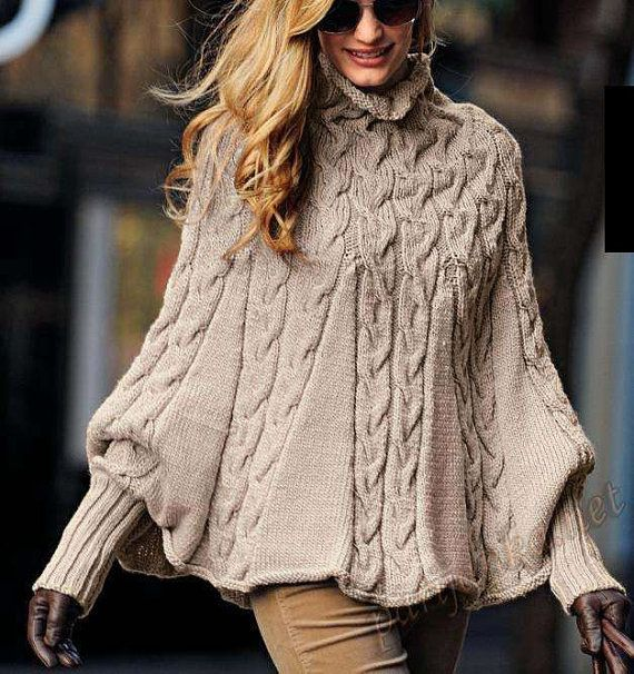 hand knitted cape poncho with sleeves high country wool alpaca to order strick pinterest. Black Bedroom Furniture Sets. Home Design Ideas