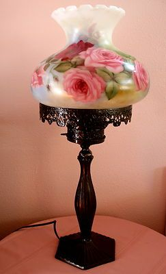 Romantic Victorian hand painted rose lamp