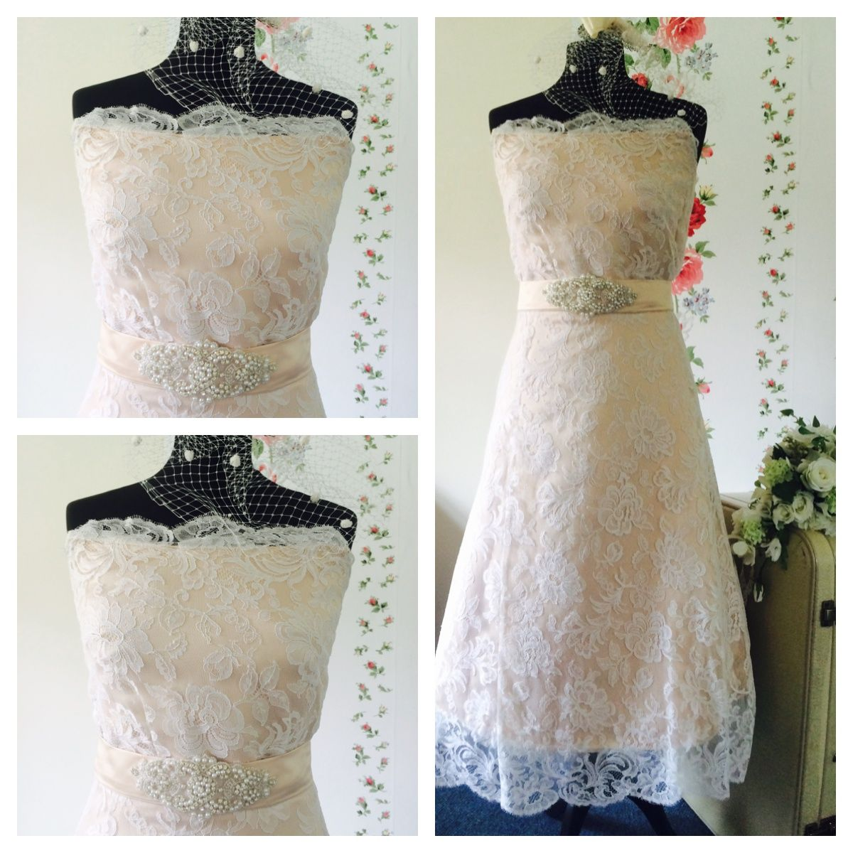 1950s lace dress  Restyled us lace wedding dress Strapless dress made in