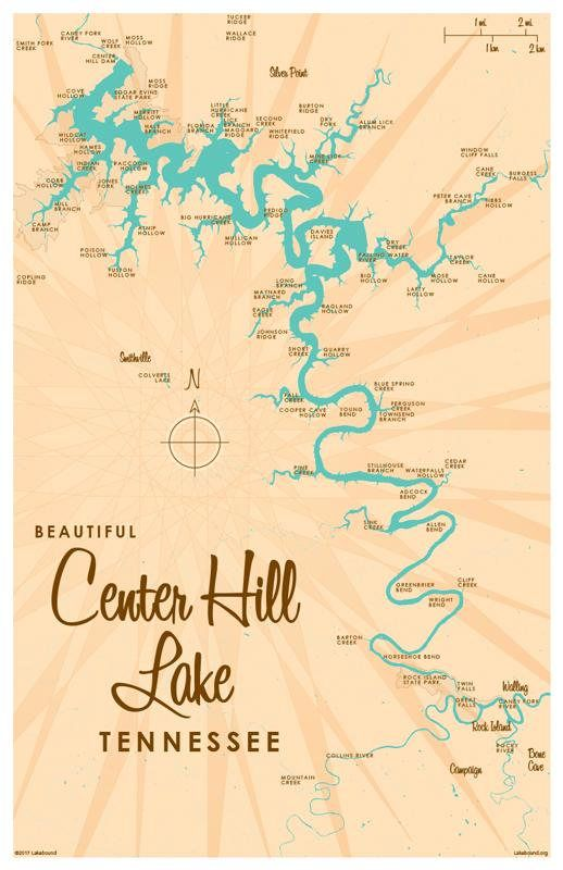 Center Hill Lake Tennessee Map.Center Hill Lake Tn Map Print Products In 2019 Map Cabin