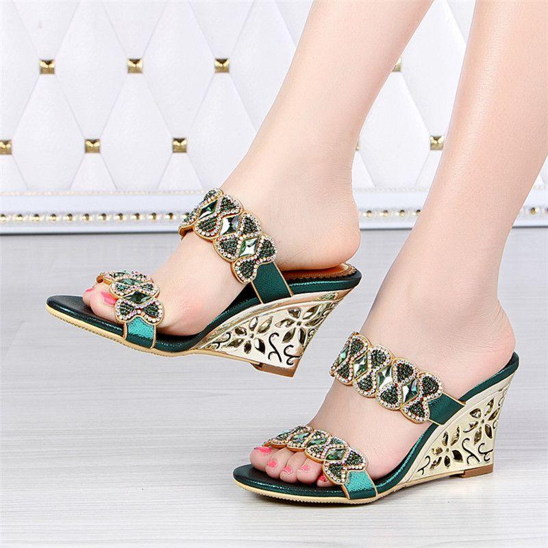 2017 Summer New Leather Shoes Rhinestone Roman Female Diamond Wedges  Sandals Size 11 High Quality