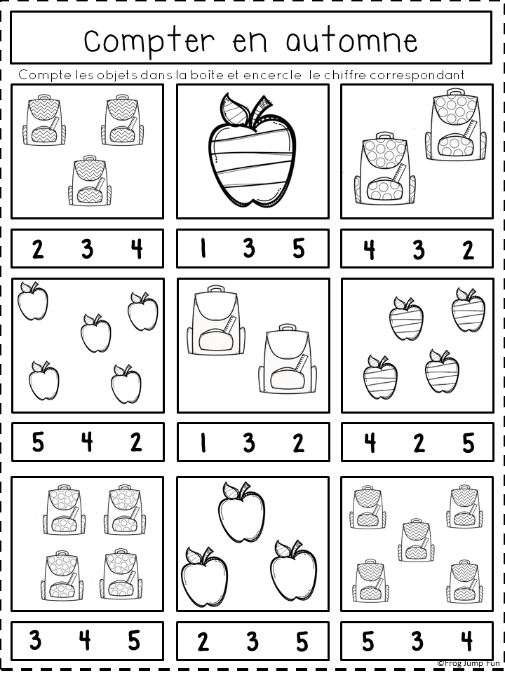 French Fall Math Pack Kids Learning Charts Preschool Math Worksheets Numbers Preschool