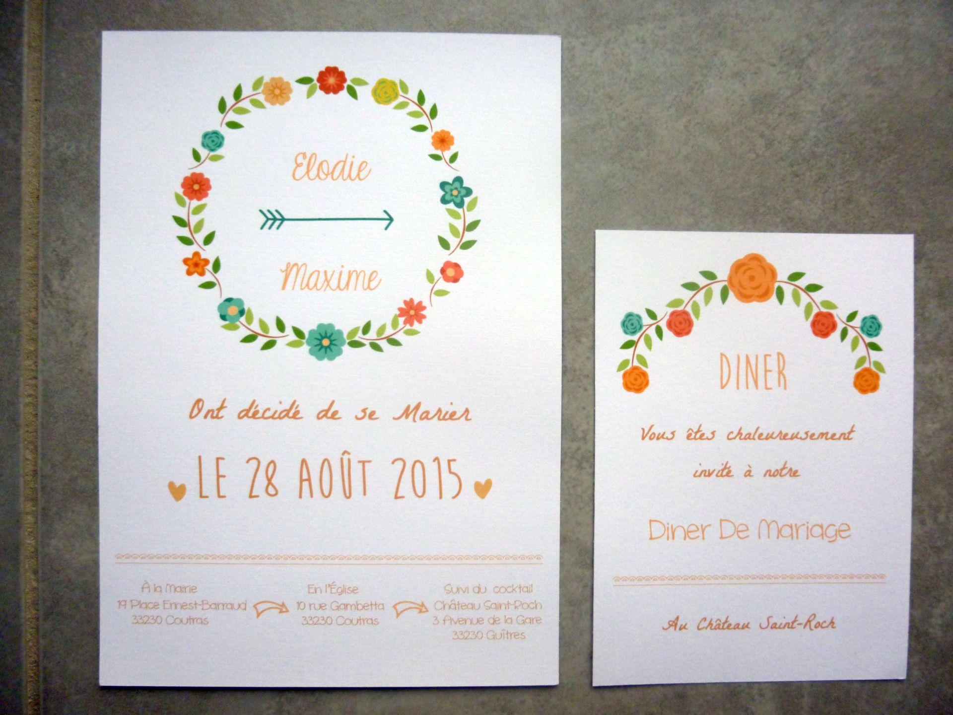 Très Faire Part mariage fleuri : Faire-part par lilypapeterie | Faire  DG56