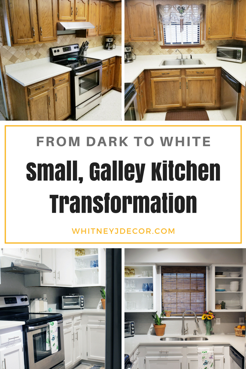 Small, Gray and White Kitchen Transformation | Small galley kitchens ...