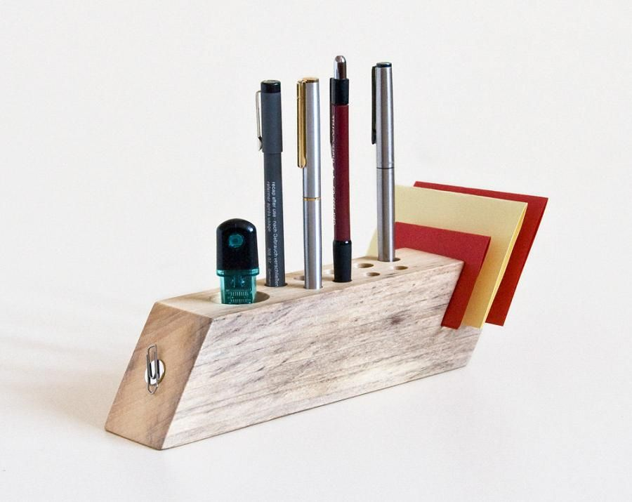 15 Creative Desk Organizers And Cool Desk Organizer Designs Wood Pen Holder Wood Pens Work Space Organization