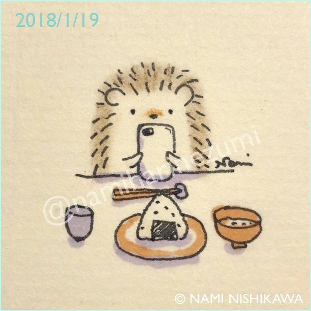 1387 インスタ映え(はりこ、インスタしてないけど…) instagrammable (But the hedgehog doesn't have an Instagram account.) #illustration #hedgehog #イラスト #ハリネズミ #なみはりねずみ