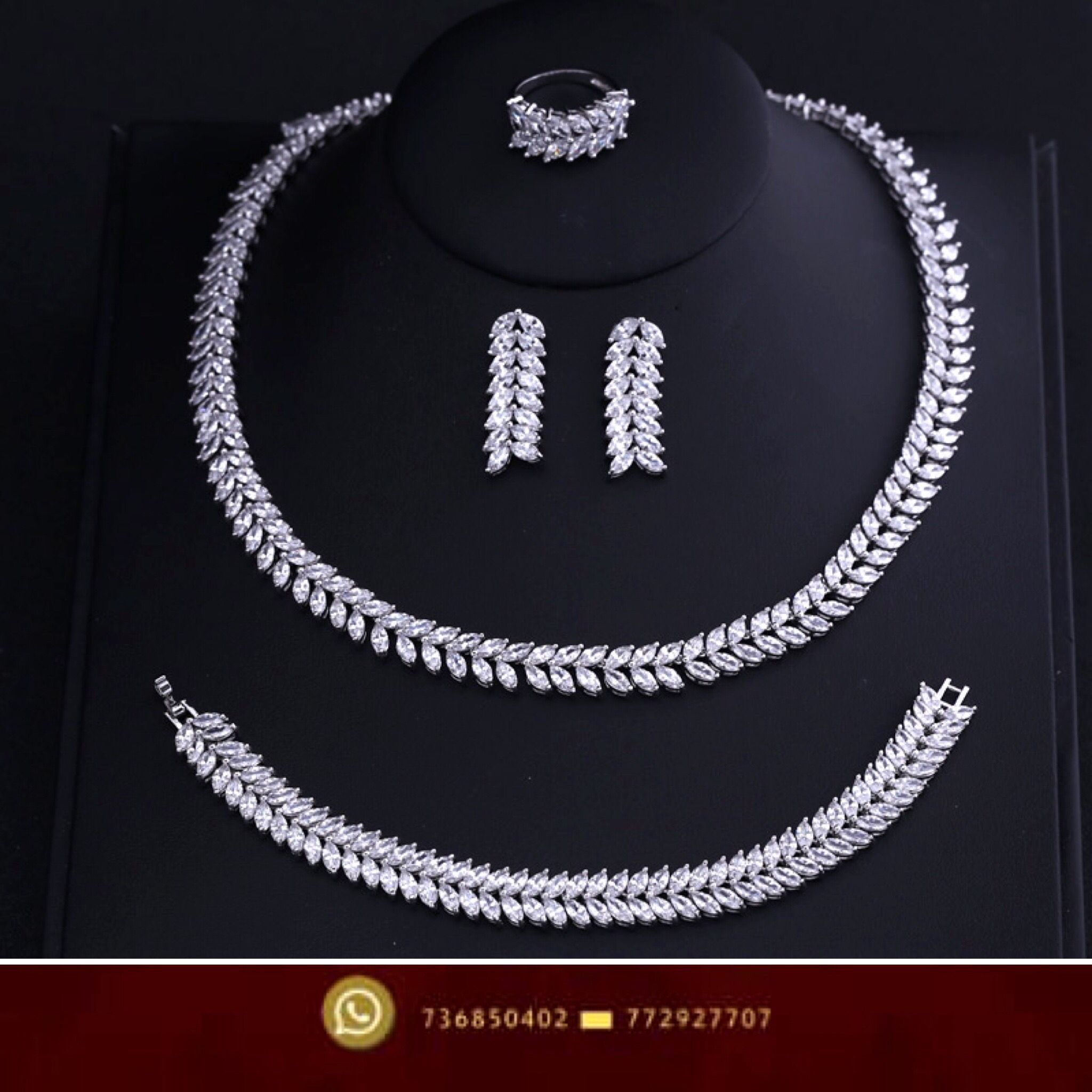اطقم نسائي صنعاء اليمن فضة زركون بيع Diamond Necklace Diamond Necklace
