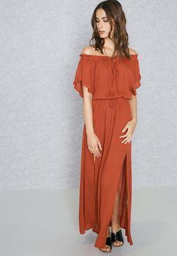 fe0899dbc1 Tie Bardot Double Slit Maxi Dress   Fashion Finds   Maxi dress with ...