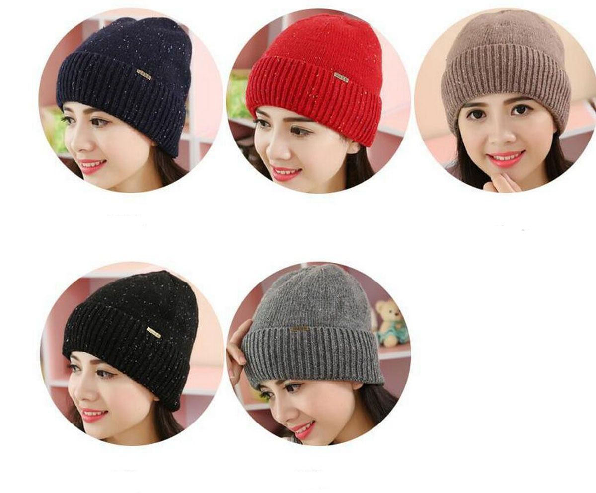 Unisex Women Men Winter Warm Wool Fur Crochet Knitted Hat Beanie Ski Cap