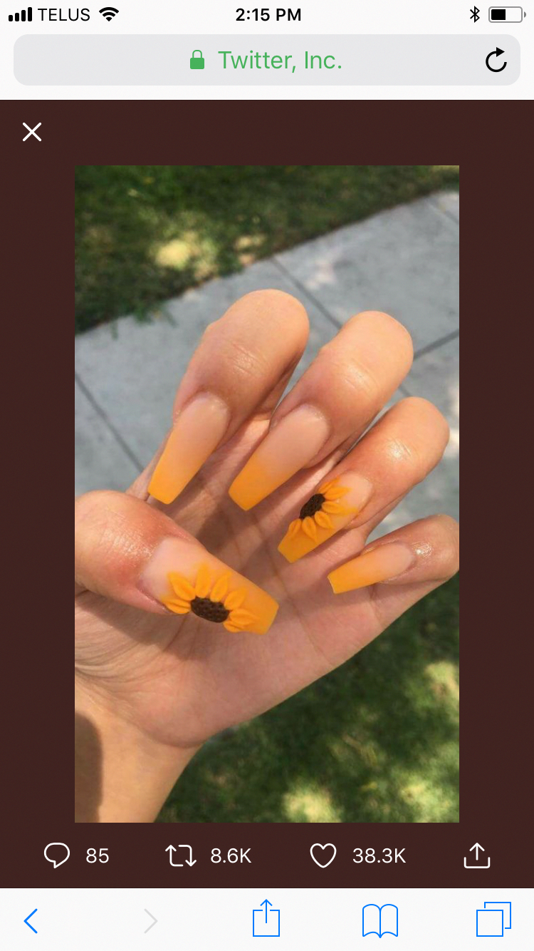 Sunflower Nails Abstractionist Sunflower Nails Fun Nails Yellow Nails