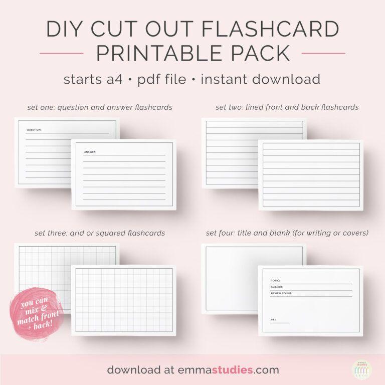Emma S Studyblr Free Diy Flashcards Printable Pack I Ve Inside Free Printable Flash Cards Template Printable Flash Cards Flash Card Template Flashcards
