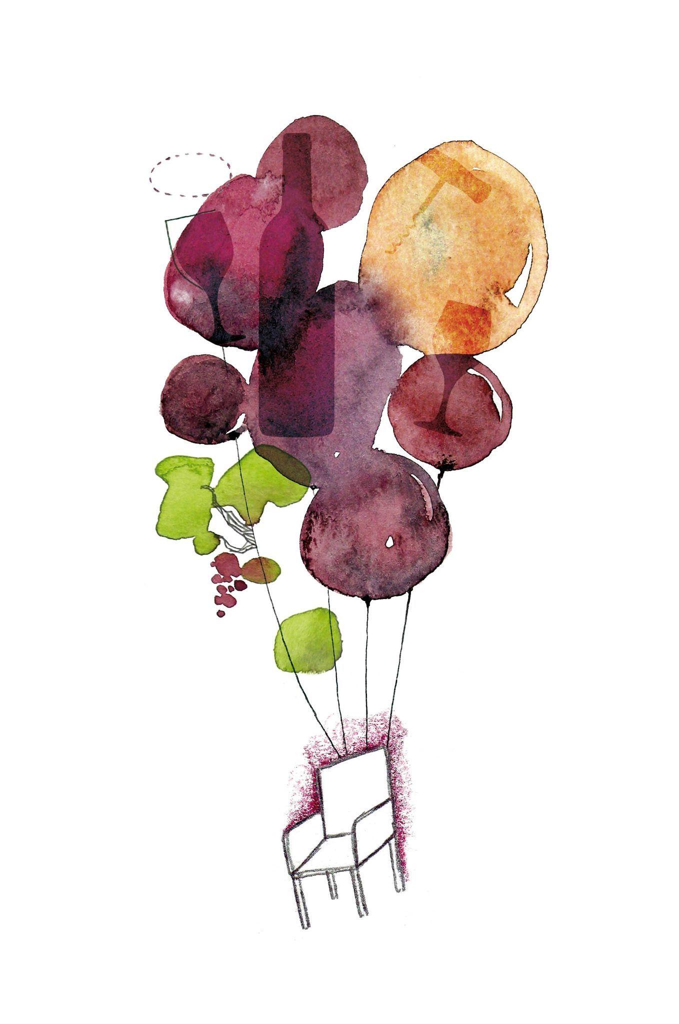 Eau De Vin Les Chosettes Aquarelle Et Encre Illustration