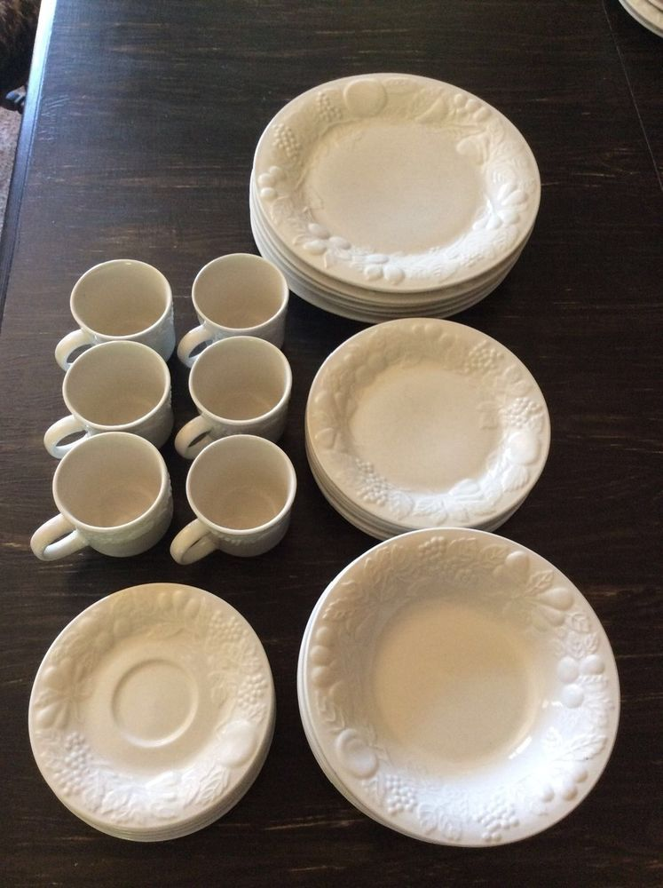 40 pieces Gibson embossed Raised fruit white dinnerware serves 8 #Gibson & 40 pieces Gibson embossed Raised fruit white dinnerware serves 8 ...