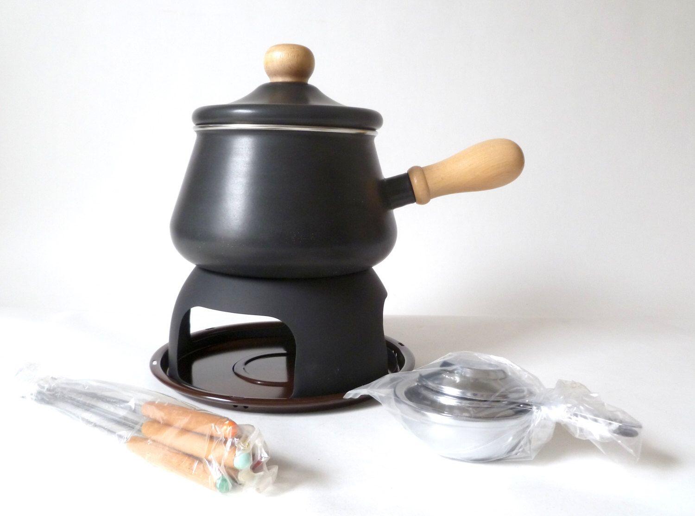 vintage nib fondue set … charcoal black danish modern kitchenware  - charcoal black danish modern kitchenware mcm mid century modern cookwarenew old stock made in japan dark gray