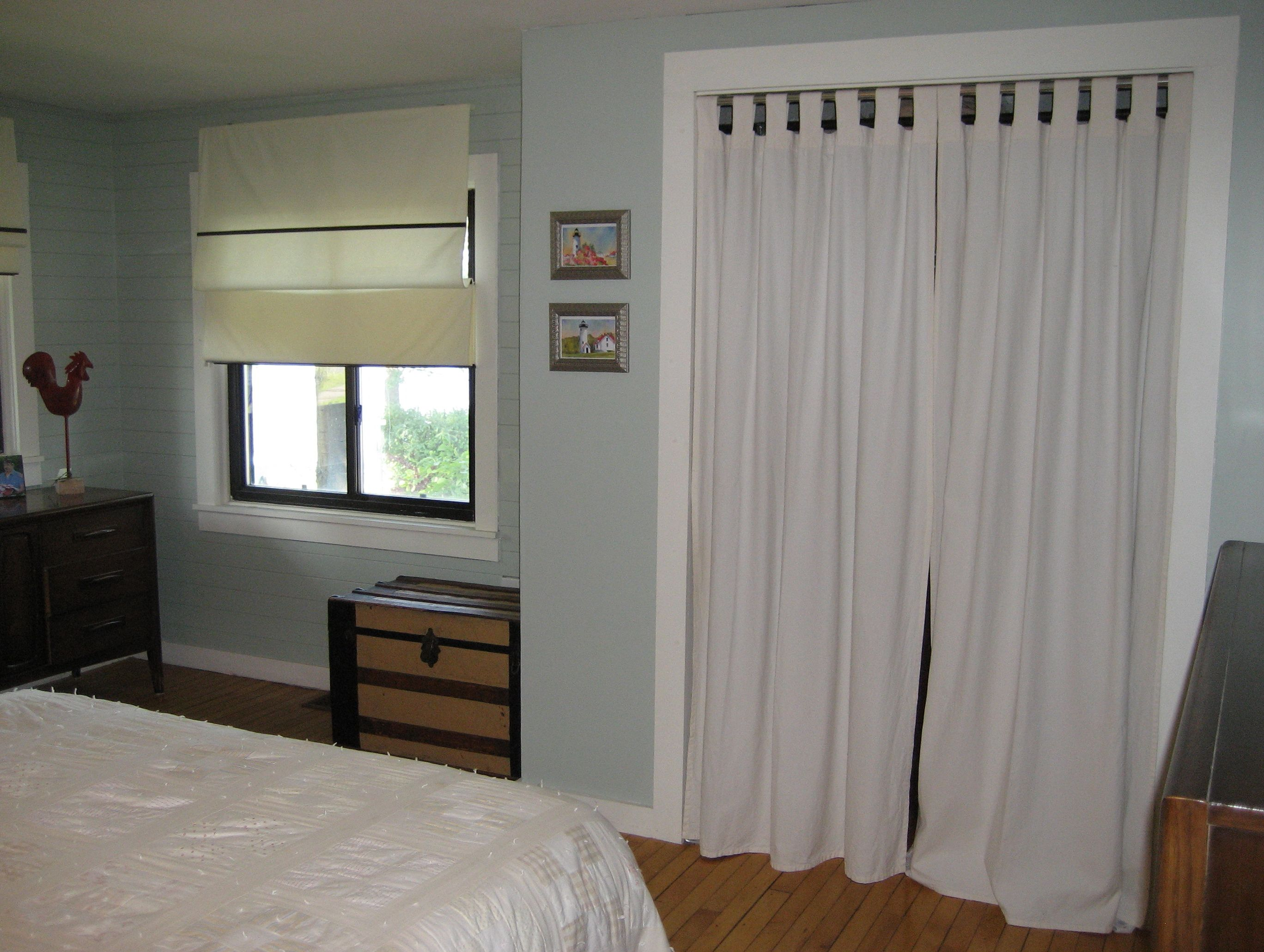 Closet Door Ideas With Curtains Curtain Replacing Bi Fold Doors Our Makeover Pictures