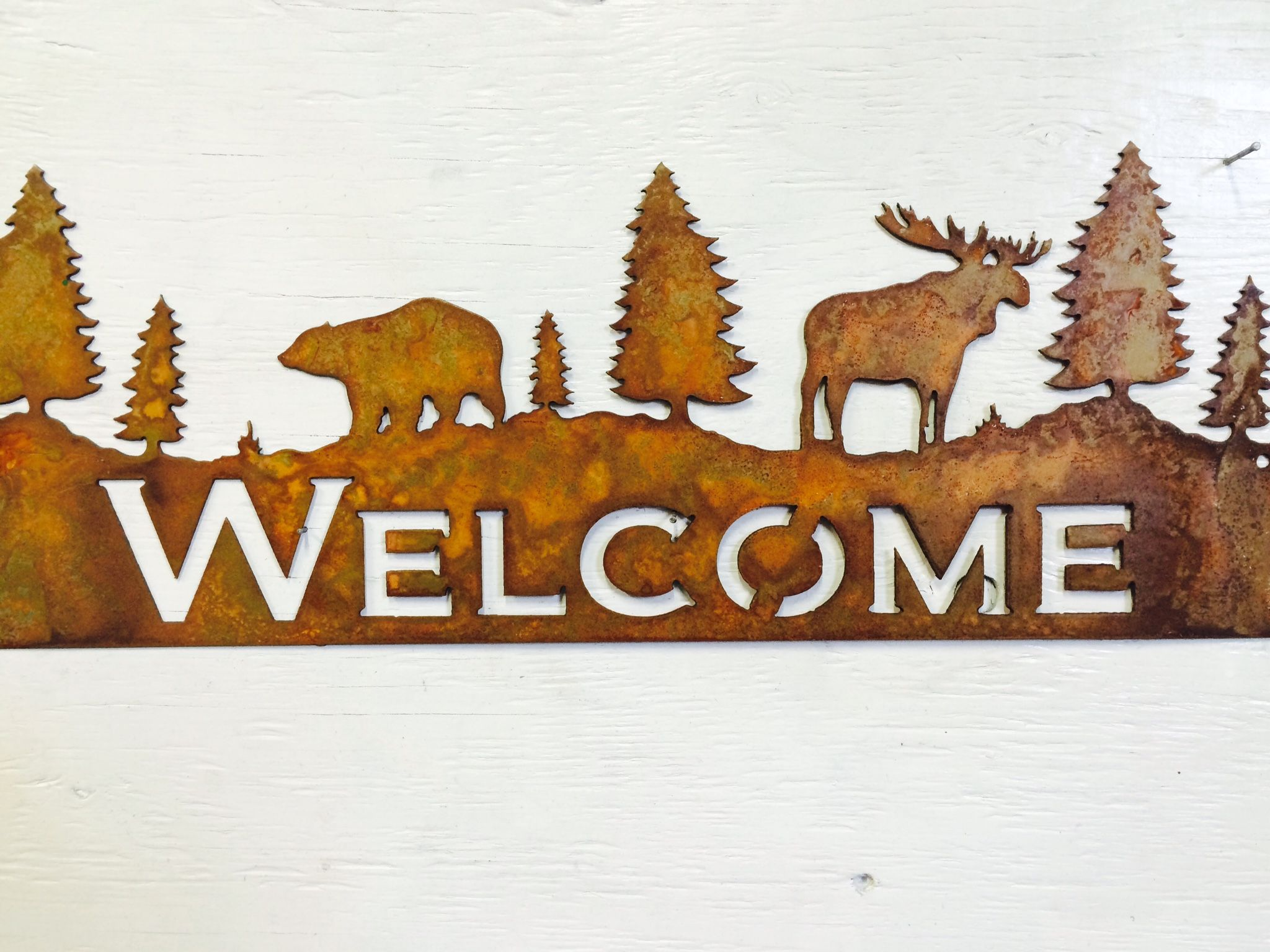 Bear and Moose rustic Wel e sign Perfect for cabin or