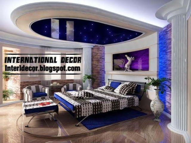 Modern blue pop false ceiling designs for bedroom interior ...
