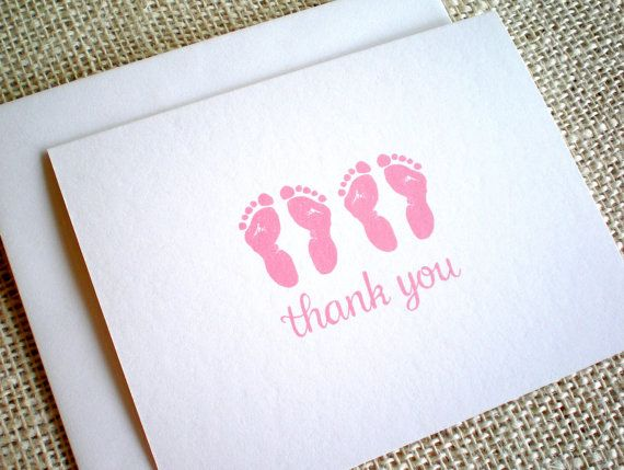 Baby Girl Twins Thank You Cards Set Of 10 Cute Pink Or Purple Twin