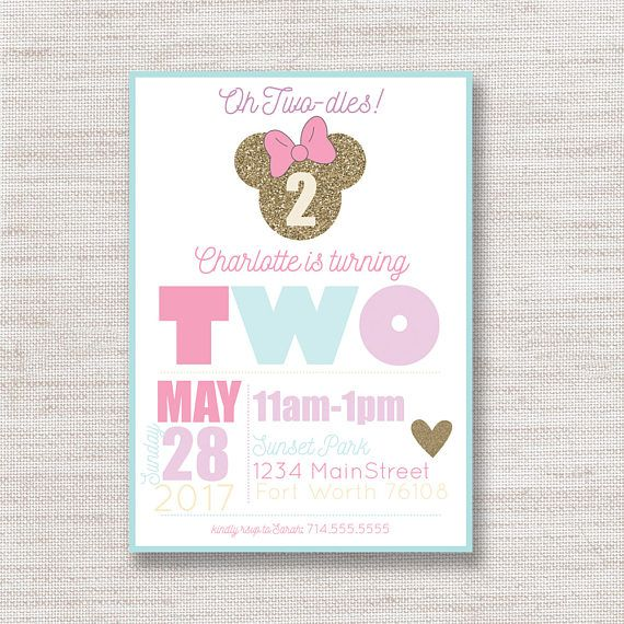 Minnie Mouse Birthday Invitations, Lavender Teal Girls Party