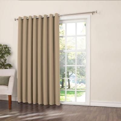 Sun Zero Semi Opaque Taupe Gregory Room Darkening Grommet Top Patio Panel 100 In W X 84 In L 44021 The Home Depot Sliding Glass Door Curtains Patio Doors Cool Curtains